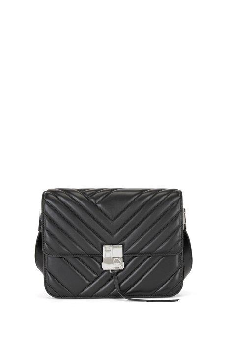 Quilted nappa-leather shoulder bag with monogram hardware, Black