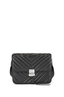 Quilted nappa-leather shoulder bag with monogram hardware, Black