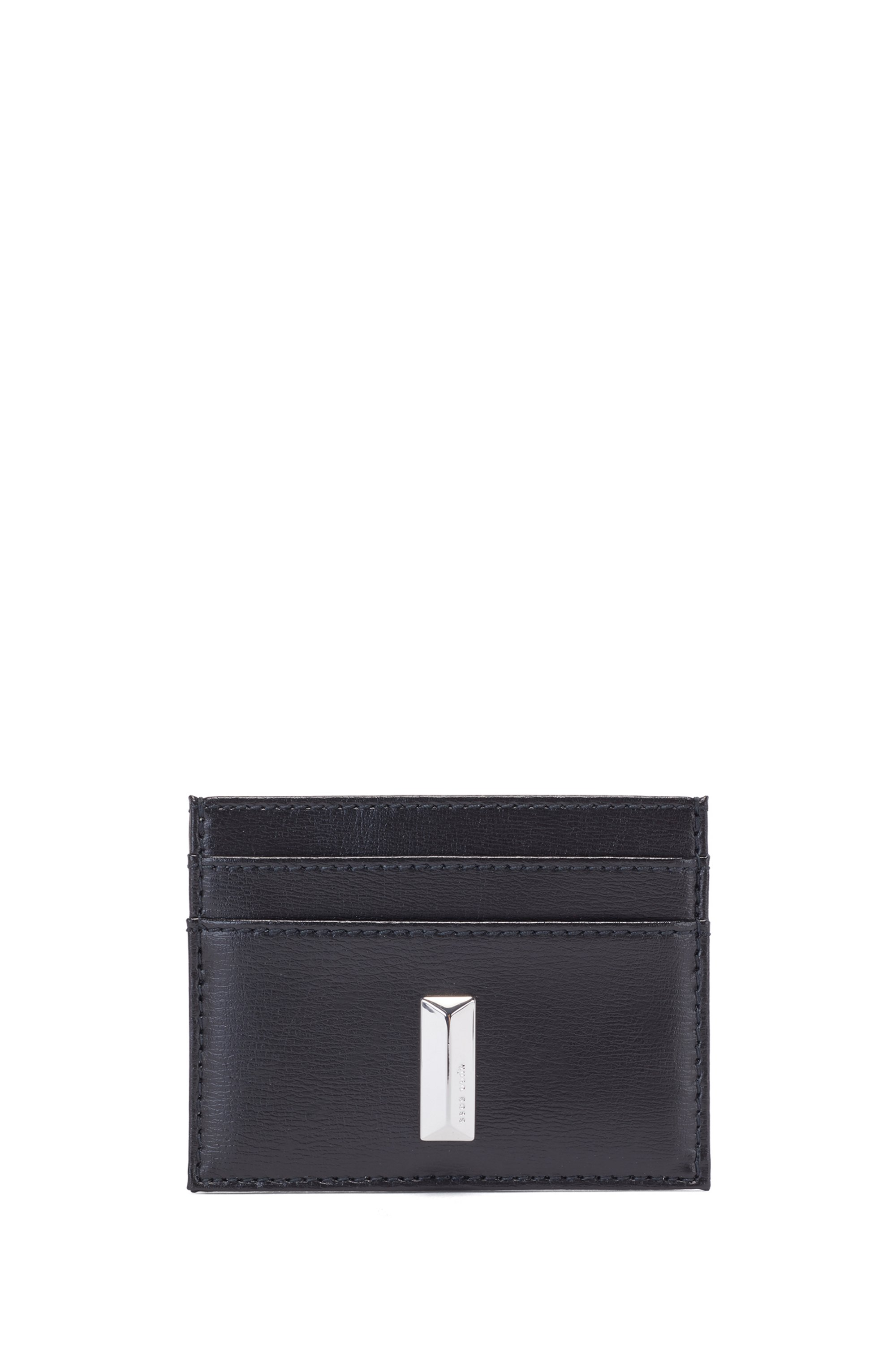 Card holder in coated leather with pyramid hardware, Black