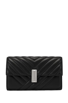Quilted nappa-leather clutch bag with detachable wrist chain, Black