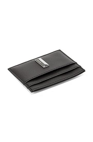 皮革卡包加耳机盒礼物套装,  001_黑色