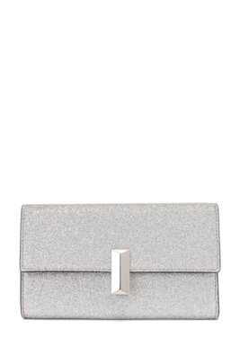 Glitter-fabric clutch bag with detachable wrist chain, Silver
