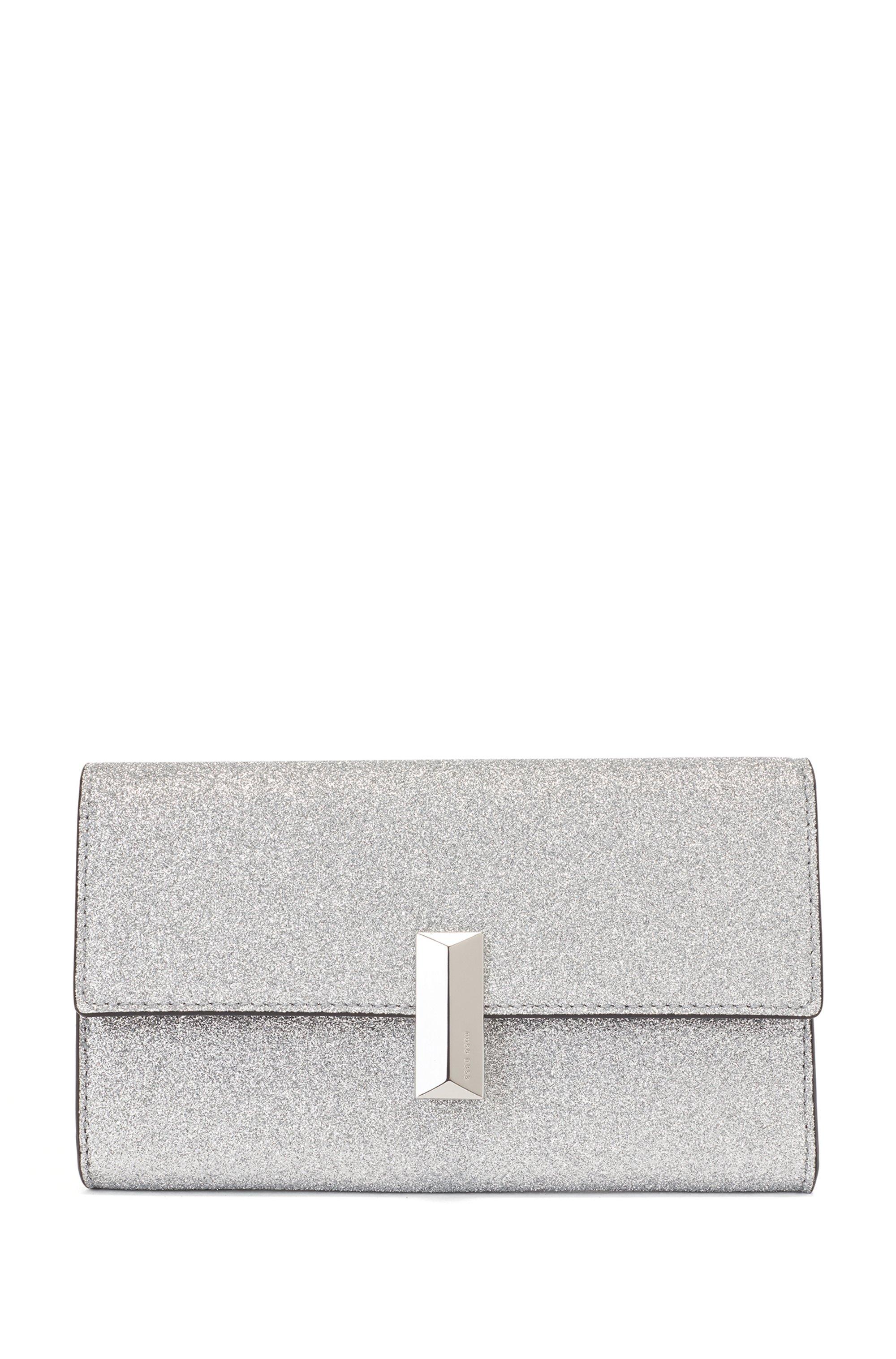 Glitter-fabric clutch bag with detachable wrist chain, Silver