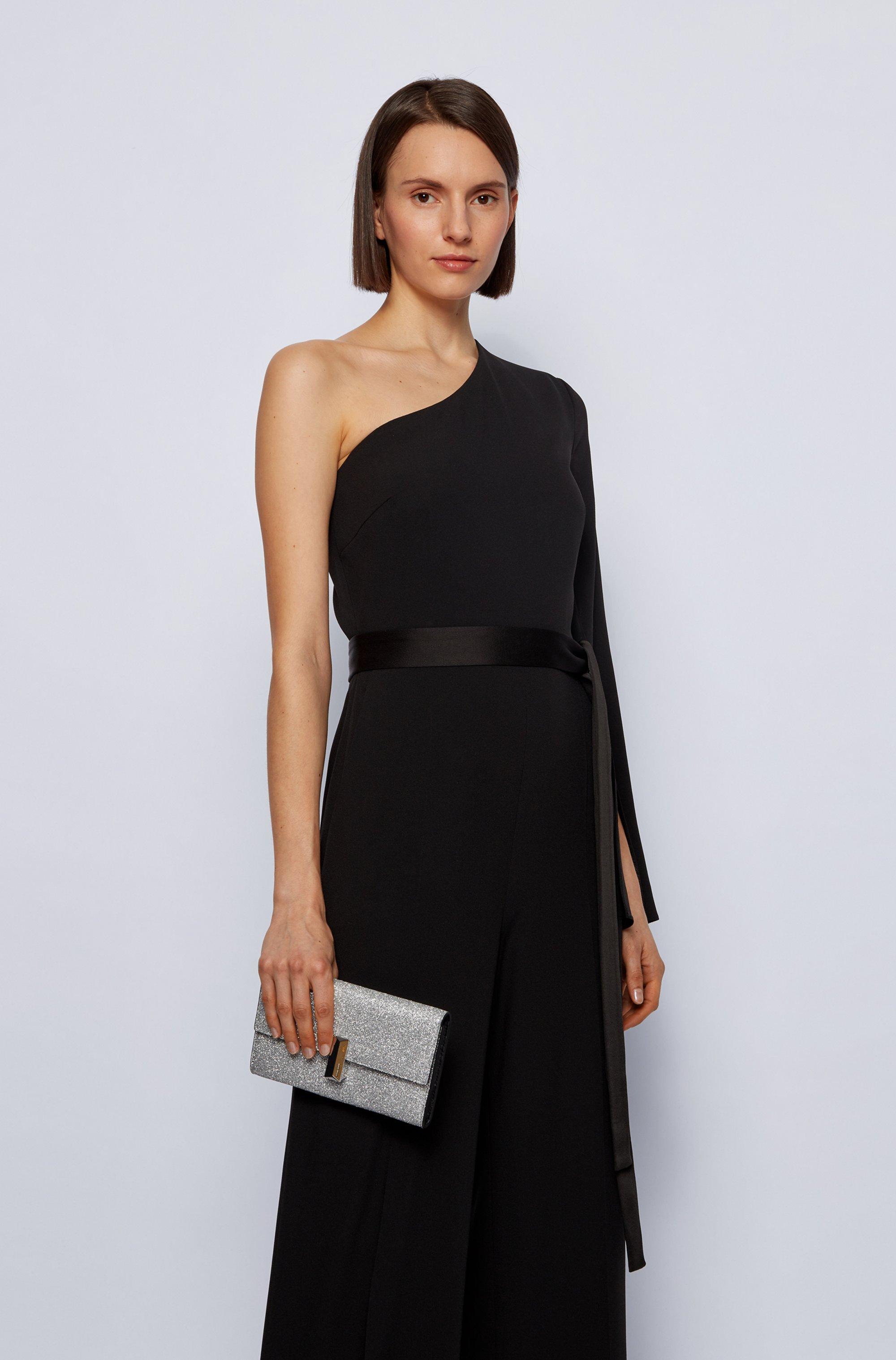 Glitter-fabric clutch bag with detachable wrist chain