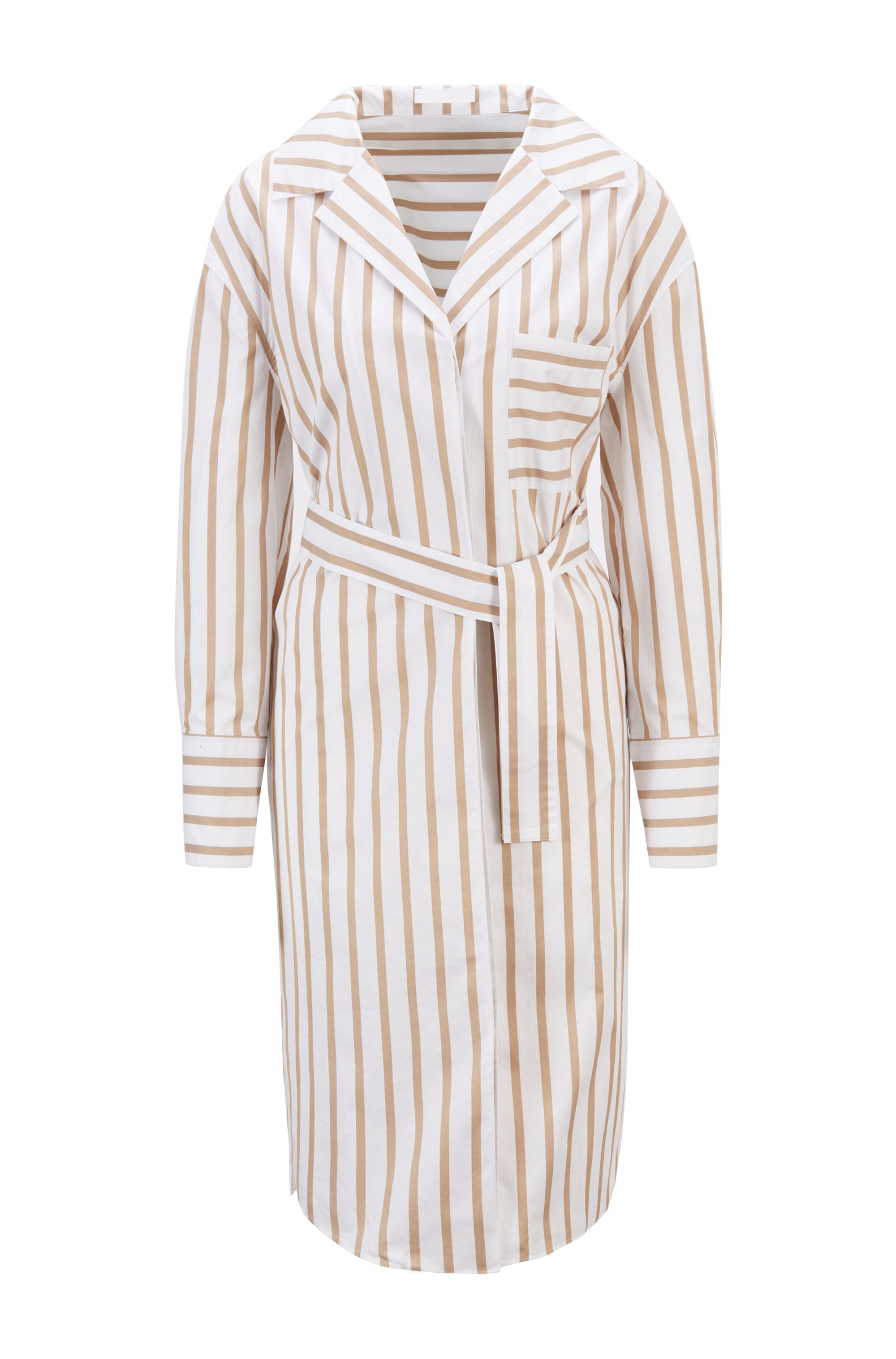 Striped shirt dress in stretch-cotton poplin, Beige