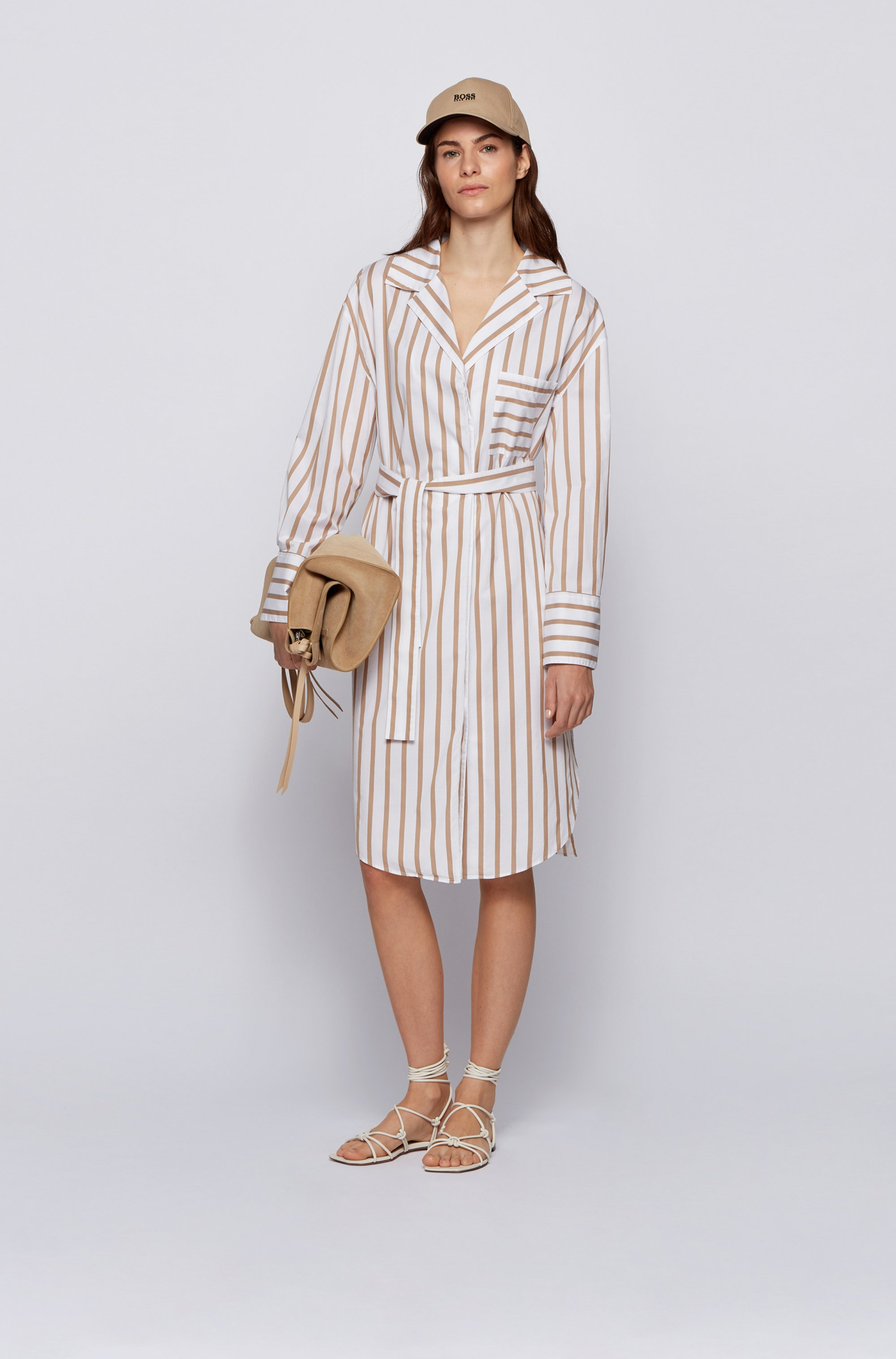 Striped shirt dress in stretch-cotton poplin
