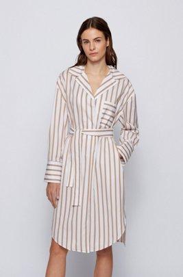 Striped shirt dress in stretch-cotton poplin, Beige