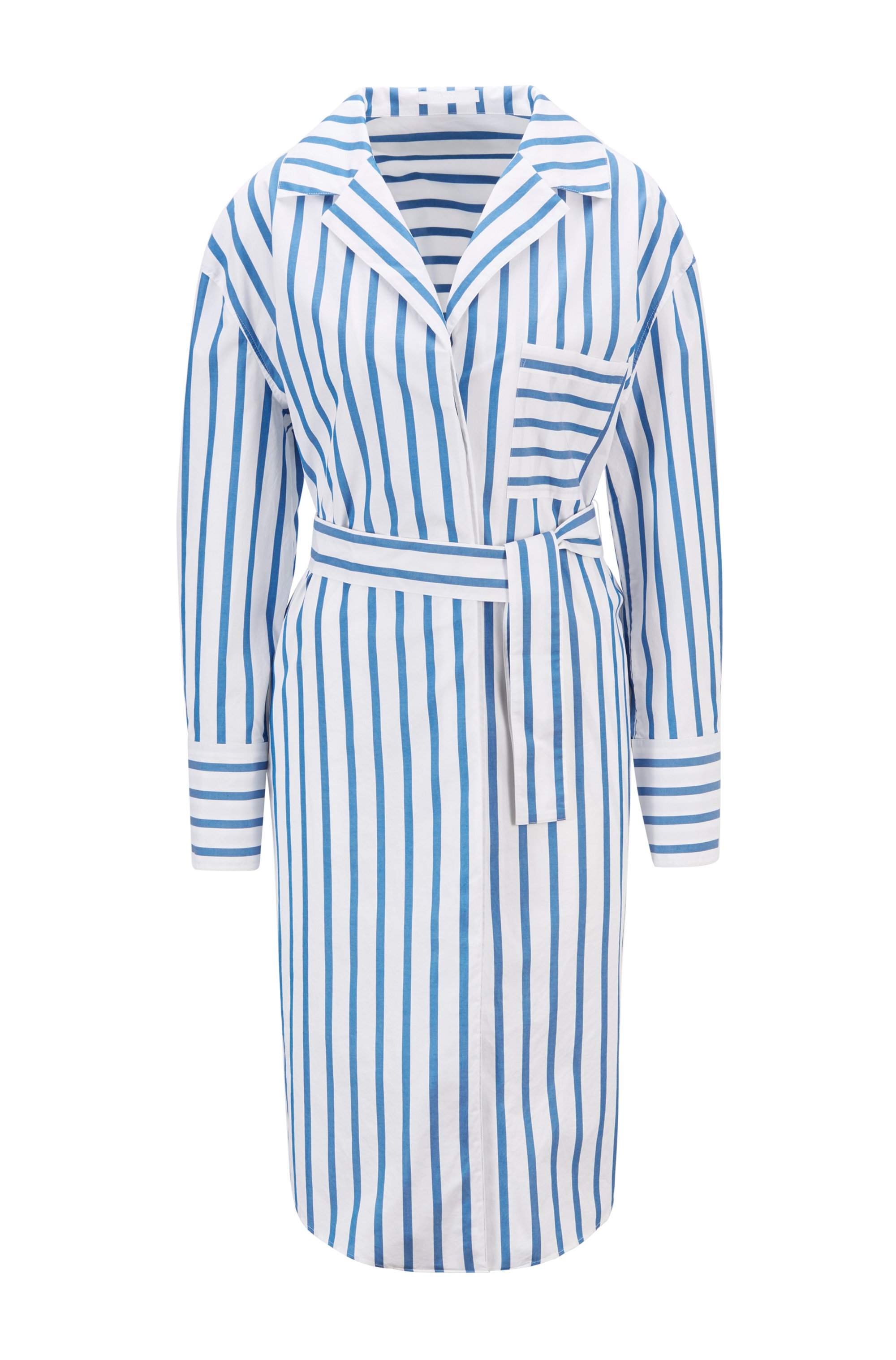 Striped shirt dress in stretch-cotton poplin, Light Blue