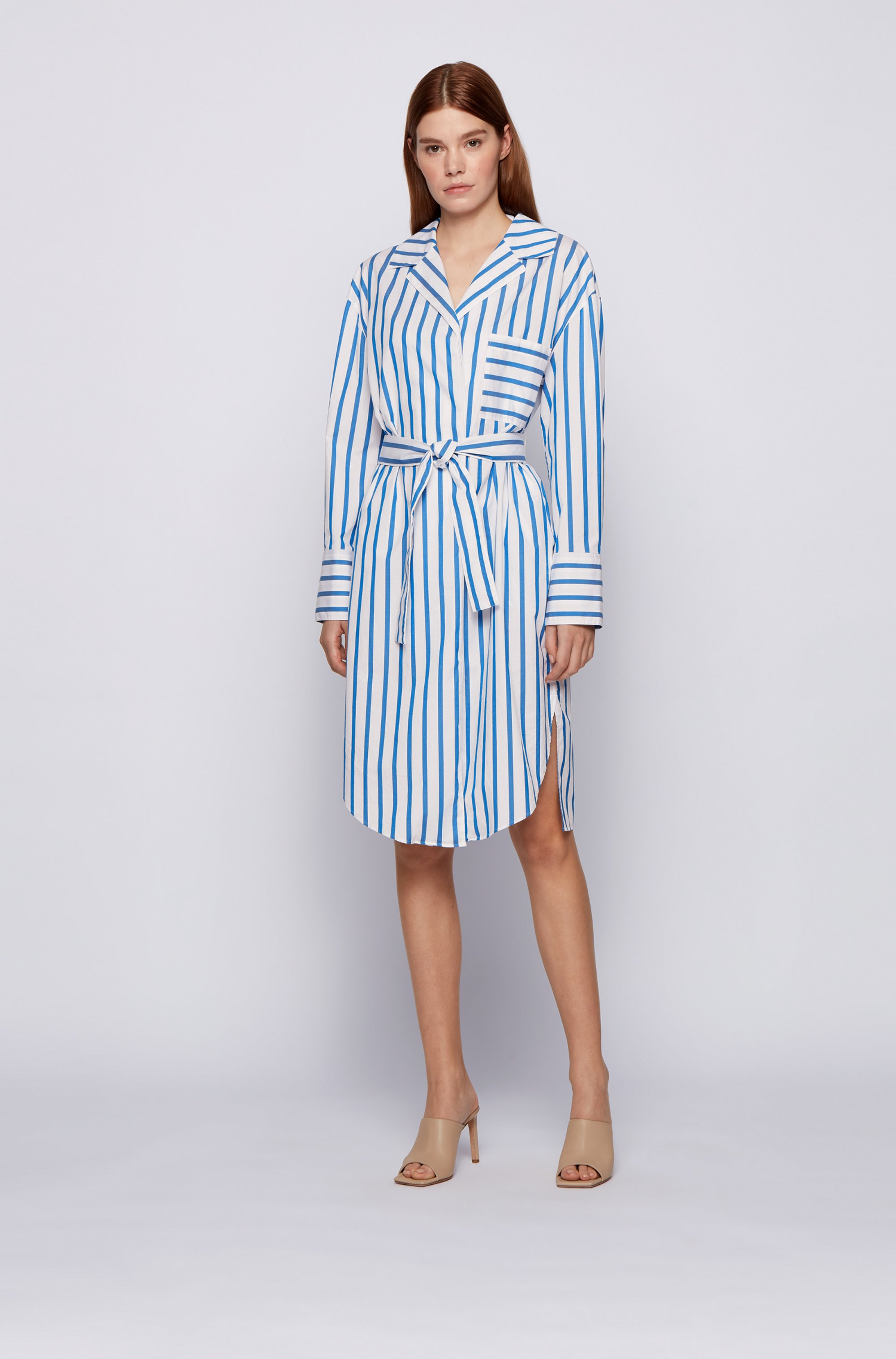 Striped shirt dress in stretch-cotton poplin