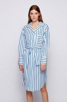 Striped shirt dress in stretch-cotton poplin, Light Blue