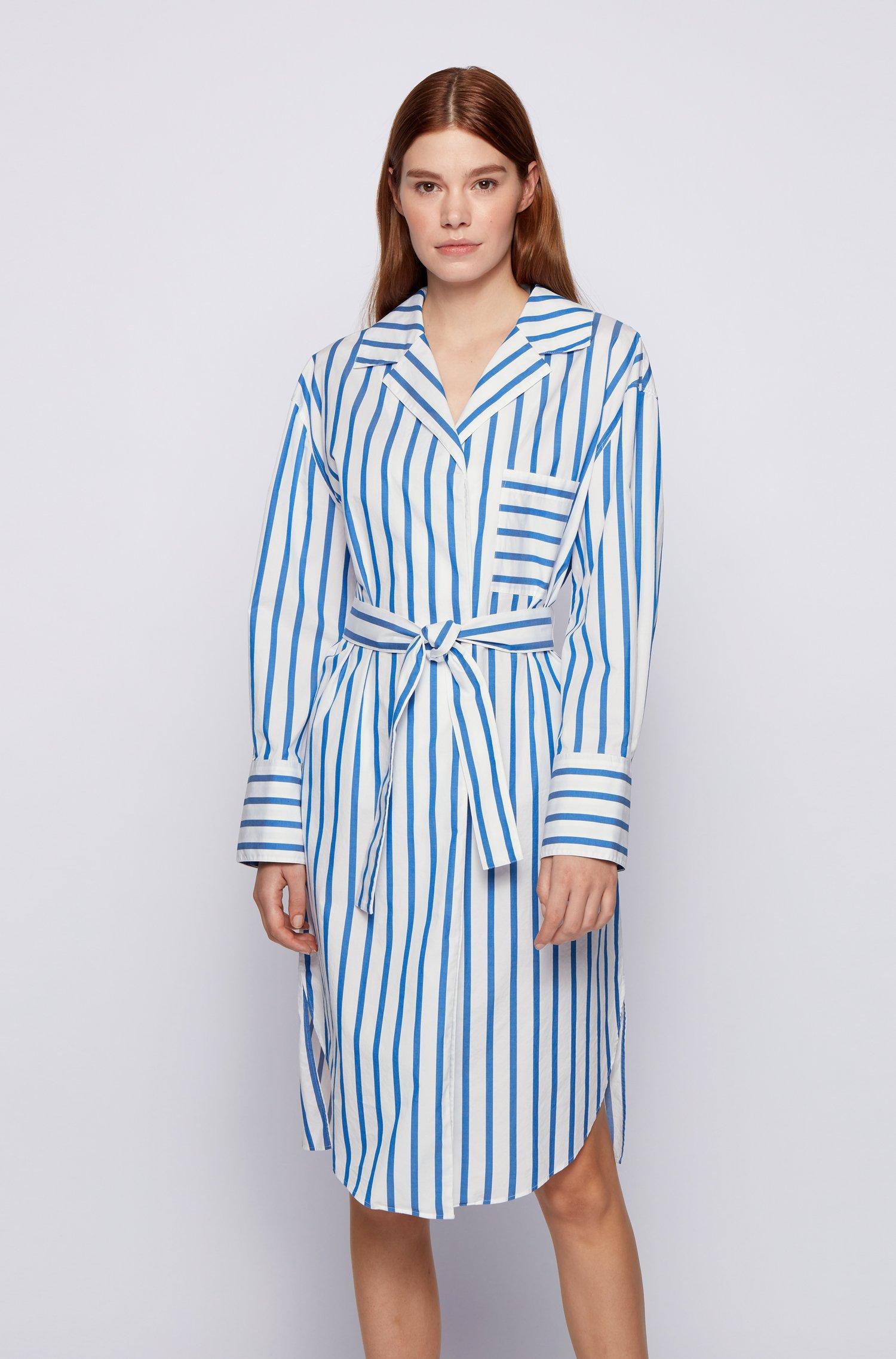 Robe-chemise à rayures en popeline de coton stretch, bleu clair