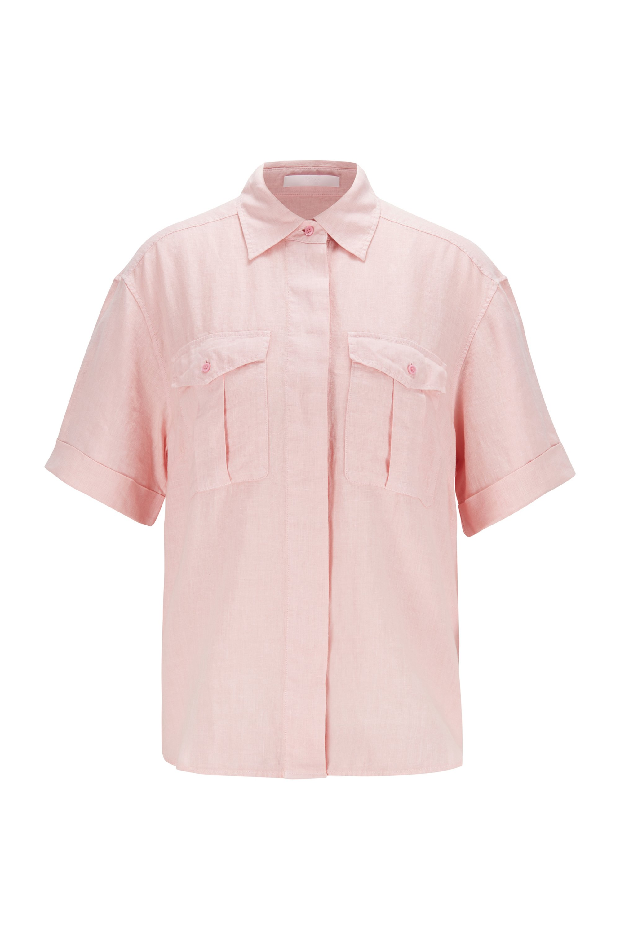 Short-sleeved linen blouse with chest pockets, Pink
