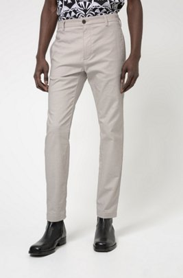 Slim-fit trousers in washed stretch-cotton twill, Light Beige
