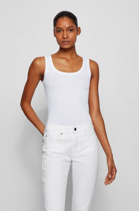 Scoop-neck top with logo embroidery , White