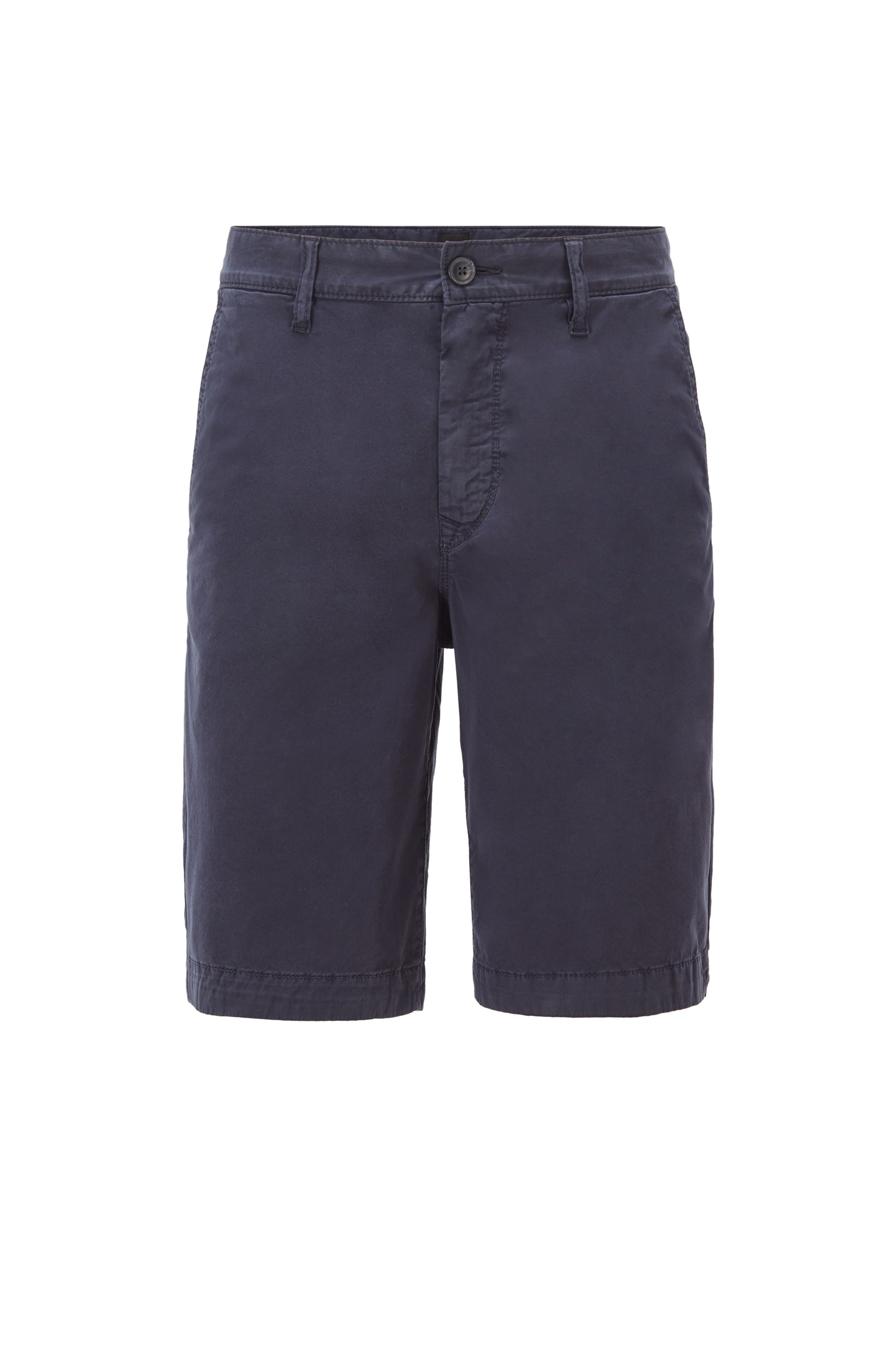 Tapered-fit shorts in garment-dyed stretch-cotton twill, Dark Blue