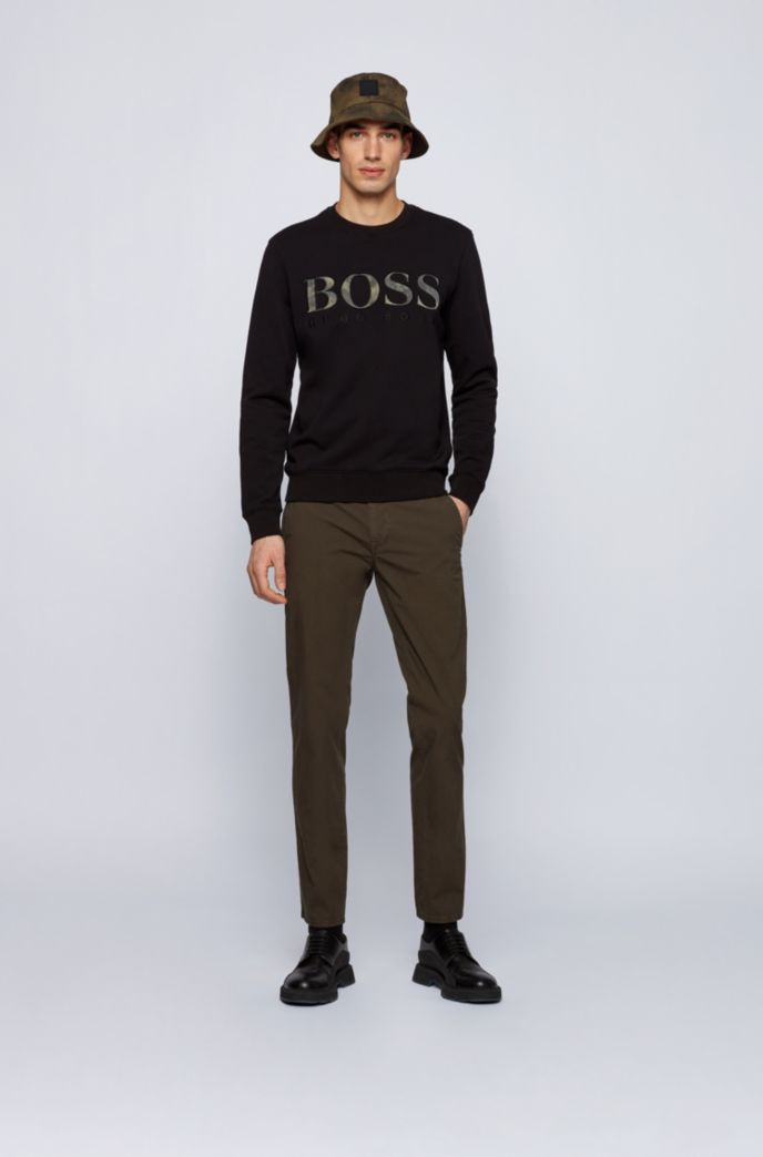Slim-fit trousers in structured stretch cotton