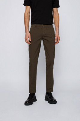 Slim-fit trousers in structured stretch cotton, Khaki