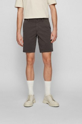 Slim-fit shorts in stretch-cotton twill, Dark Grey