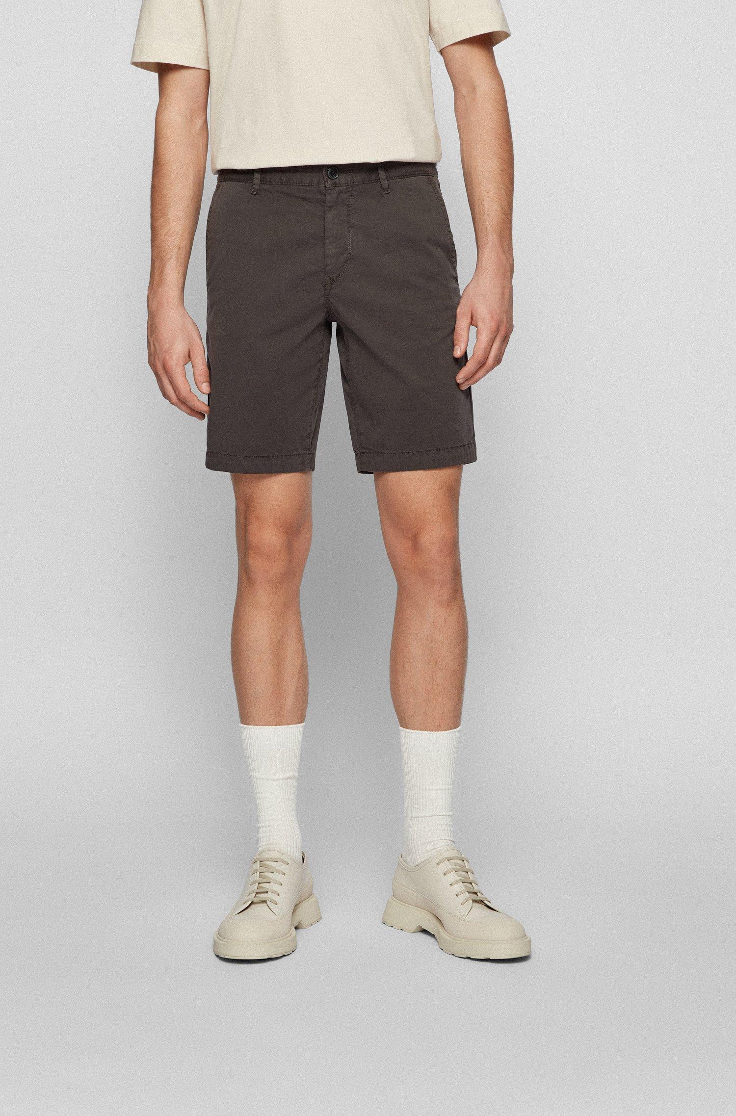 Slim-fit shorts in stretch-cotton twill, Dark Grey