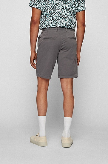 弹力棉斜纹布修身短裤,  027_Dark Grey