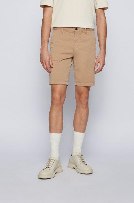 Slim-fit shorts in stretch-cotton twill, Beige