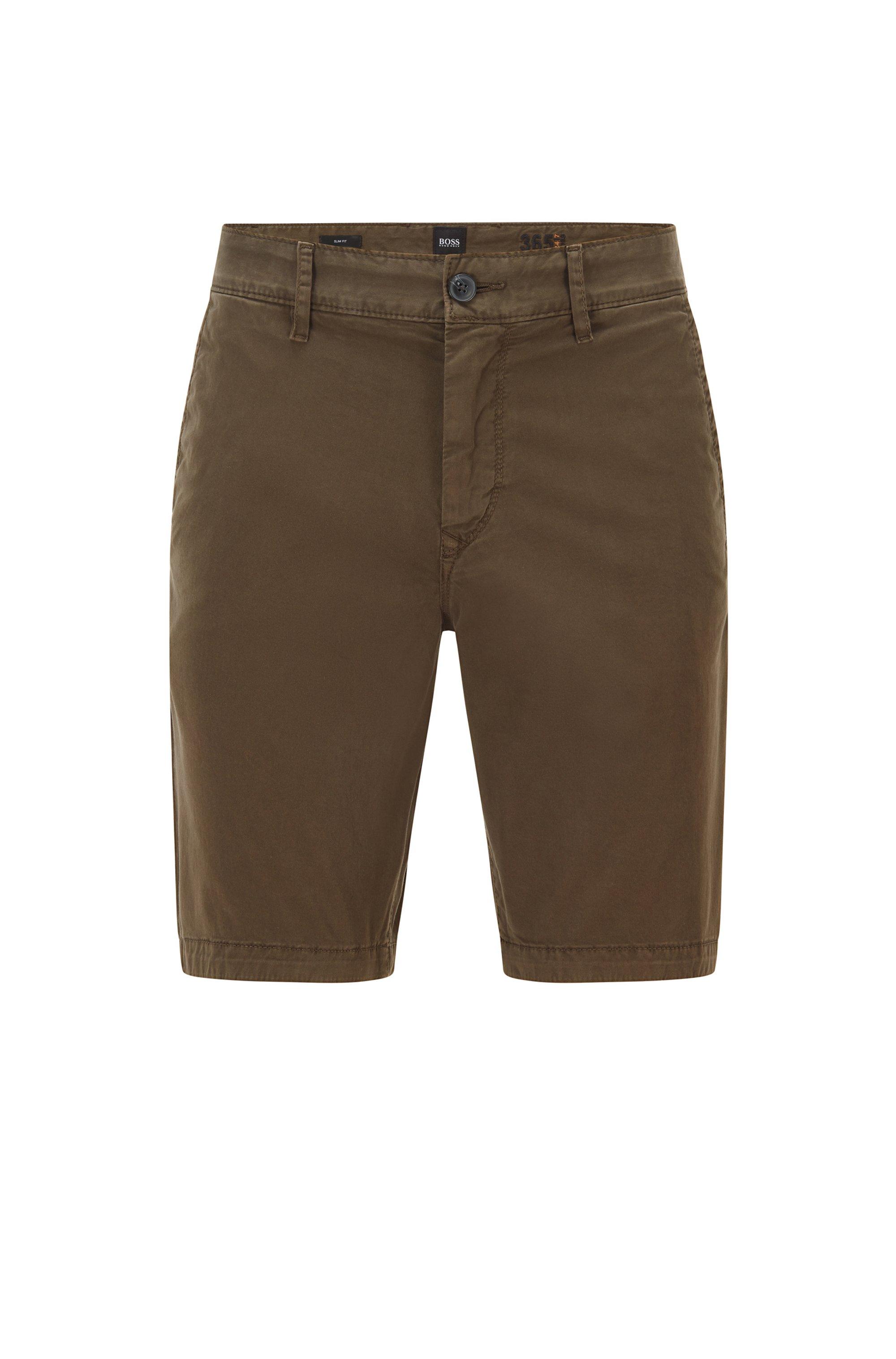 Slim-fit shorts van katoentwill met stretch, Kaki
