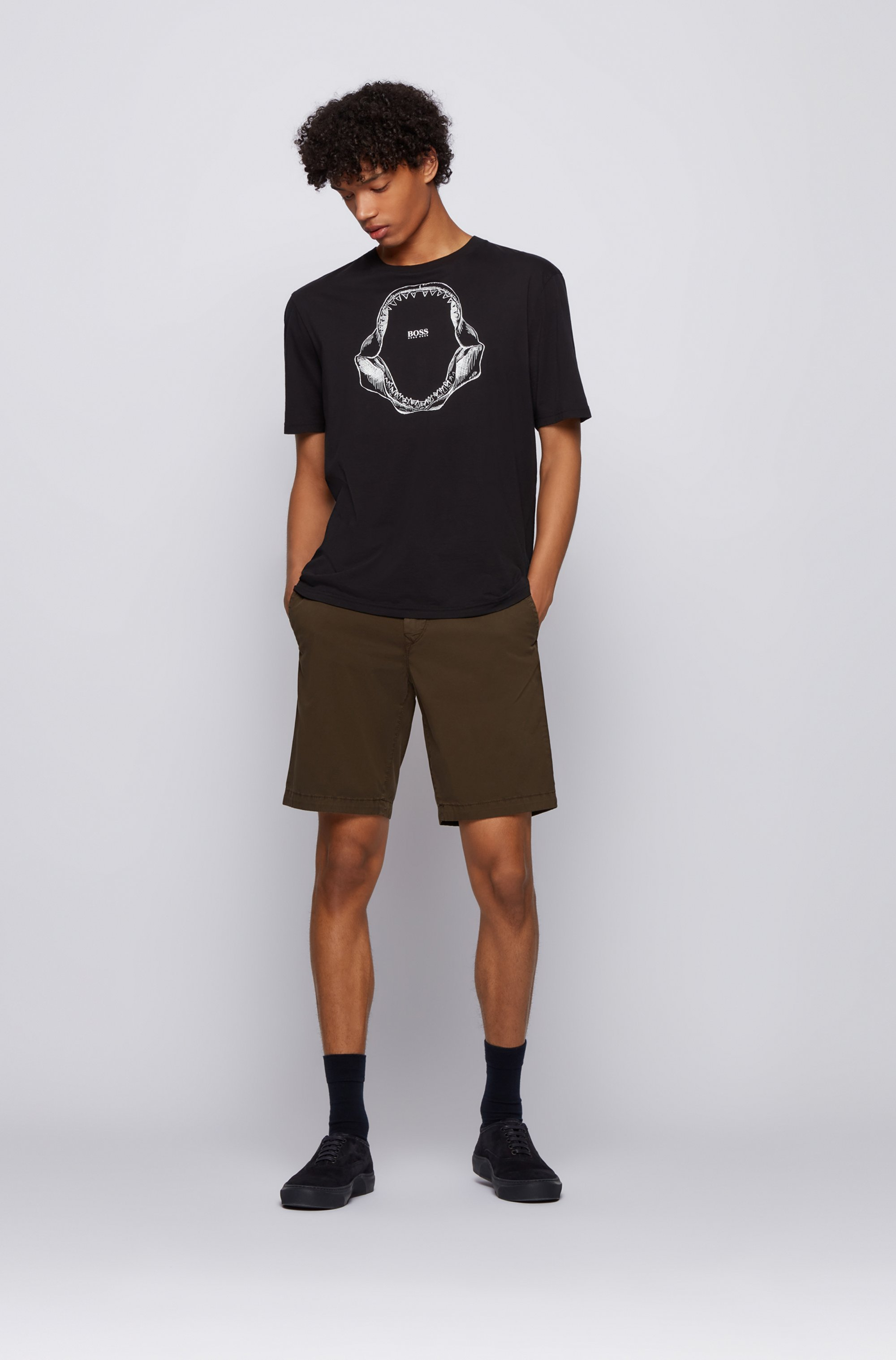 Slim-fit shorts in stretch-cotton twill
