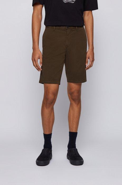Slim-fit shorts in stretch-cotton twill, Khaki
