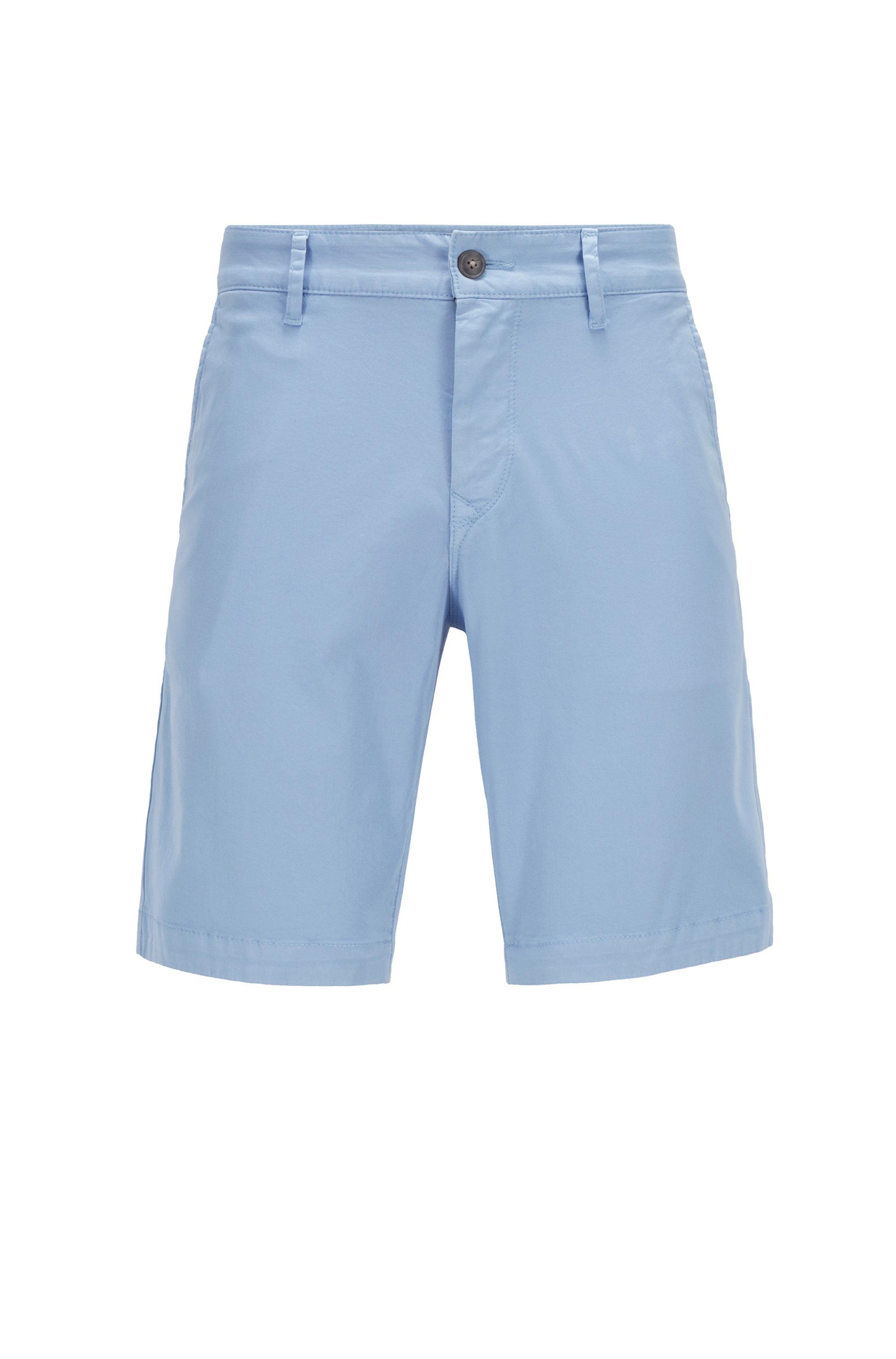 Slim-fit shorts van katoentwill met stretch, Lichtblauw