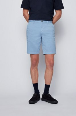 Slim-fit shorts in stretch-cotton twill, Light Blue