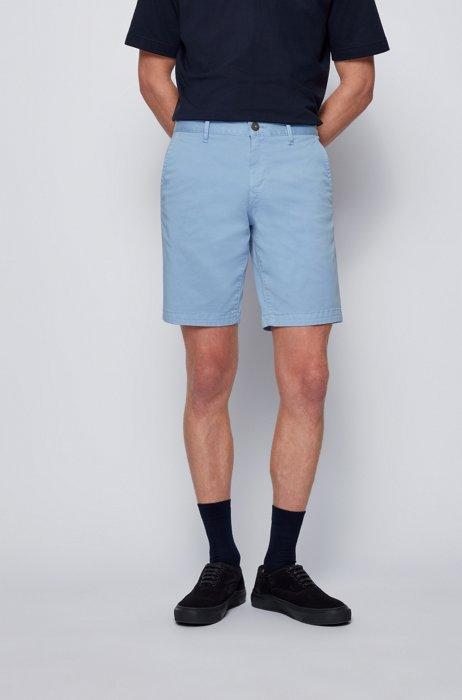 Shorts slim fit en sarga de algodón elástico, Celeste