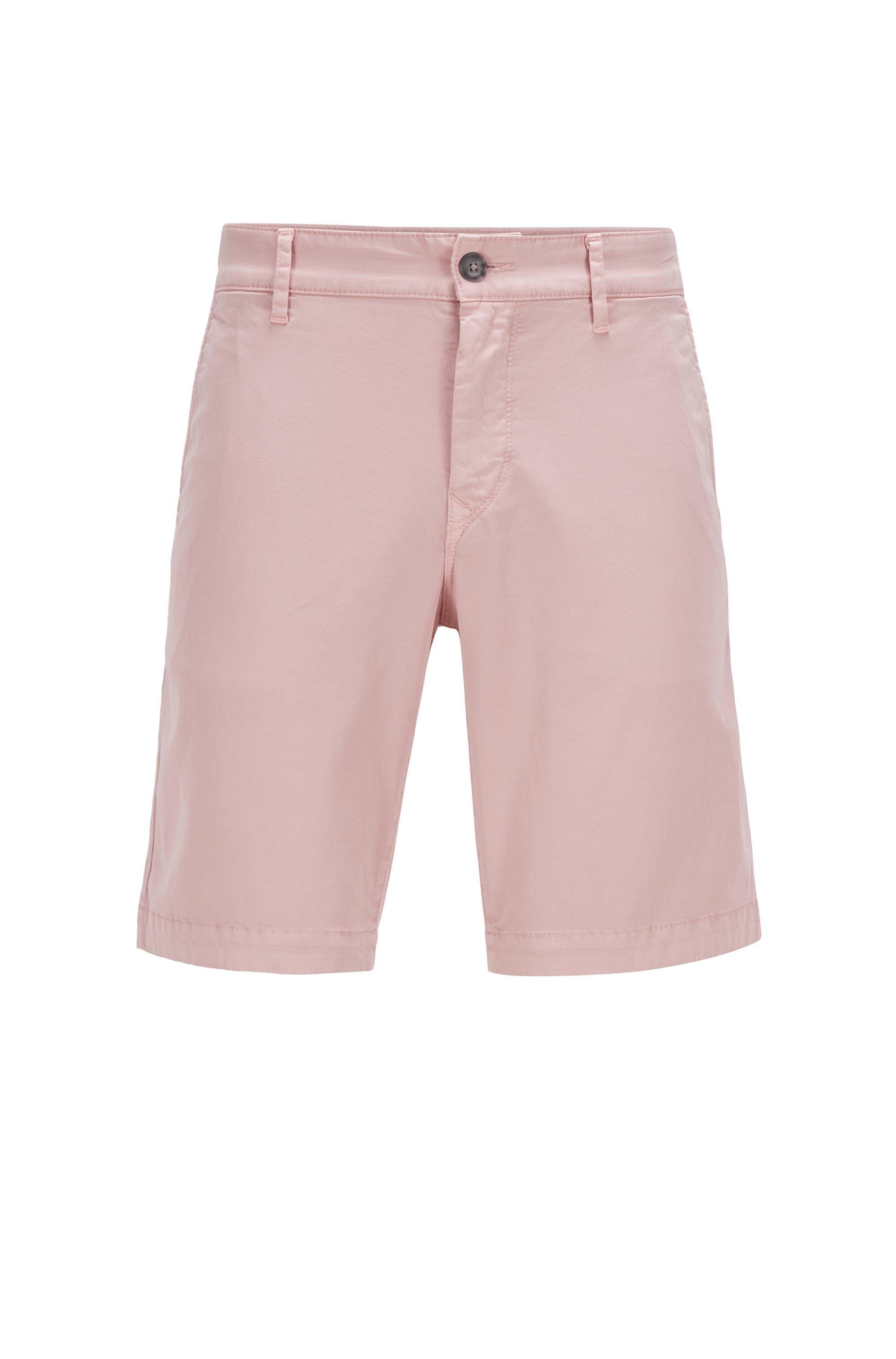 Short Slim Fit en twill de coton stretch, Rose clair
