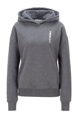 Logo-print hooded sweatshirt in cotton-blend terry, Dark Grey
