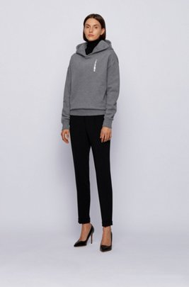 Logo-print hooded sweatshirt in cotton-blend terry, Dark Grey