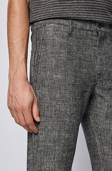 麻纤维混纺锥形长裤,  001_Black