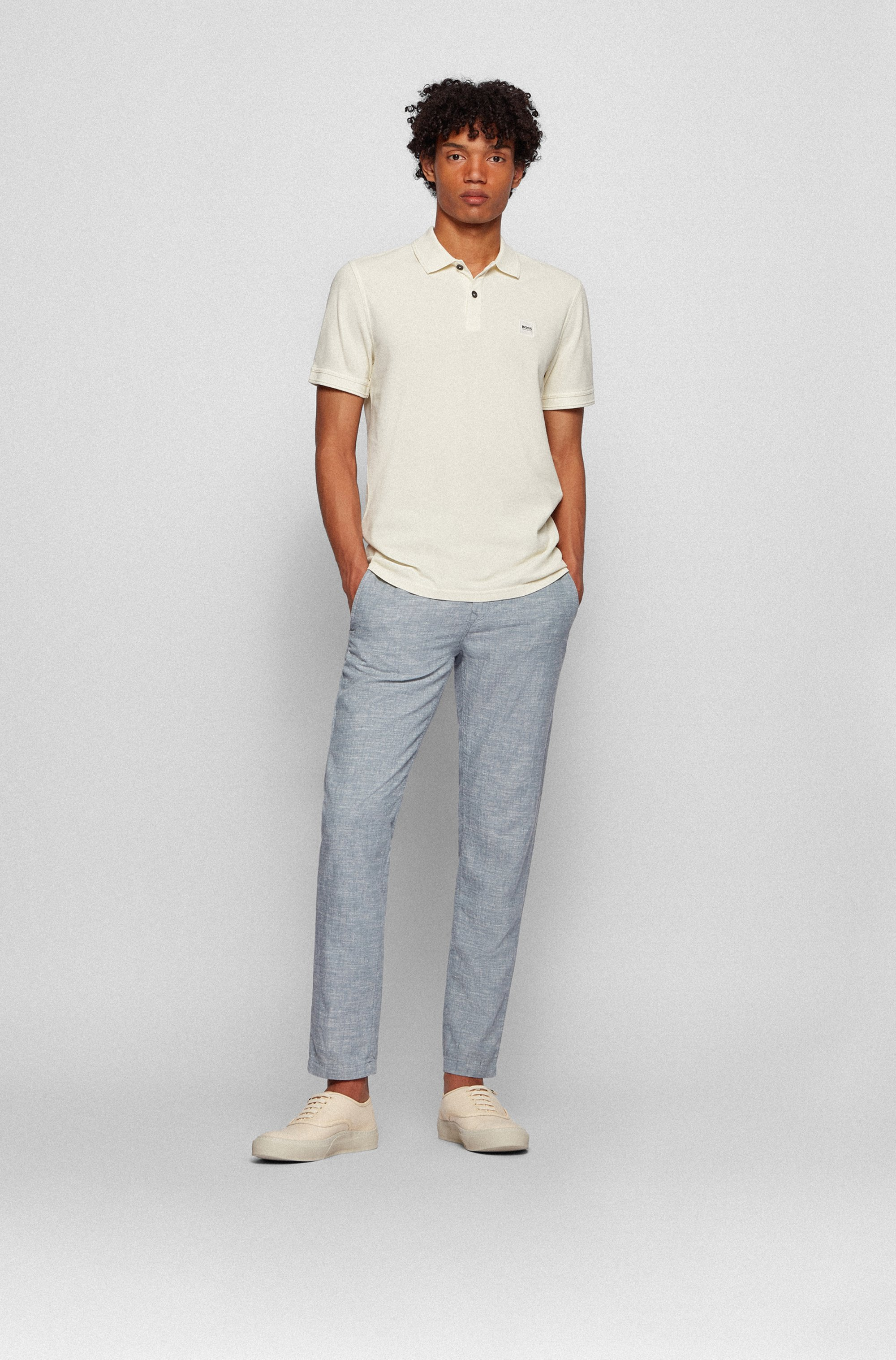 Tapered-fit trousers in hemp and organic cotton