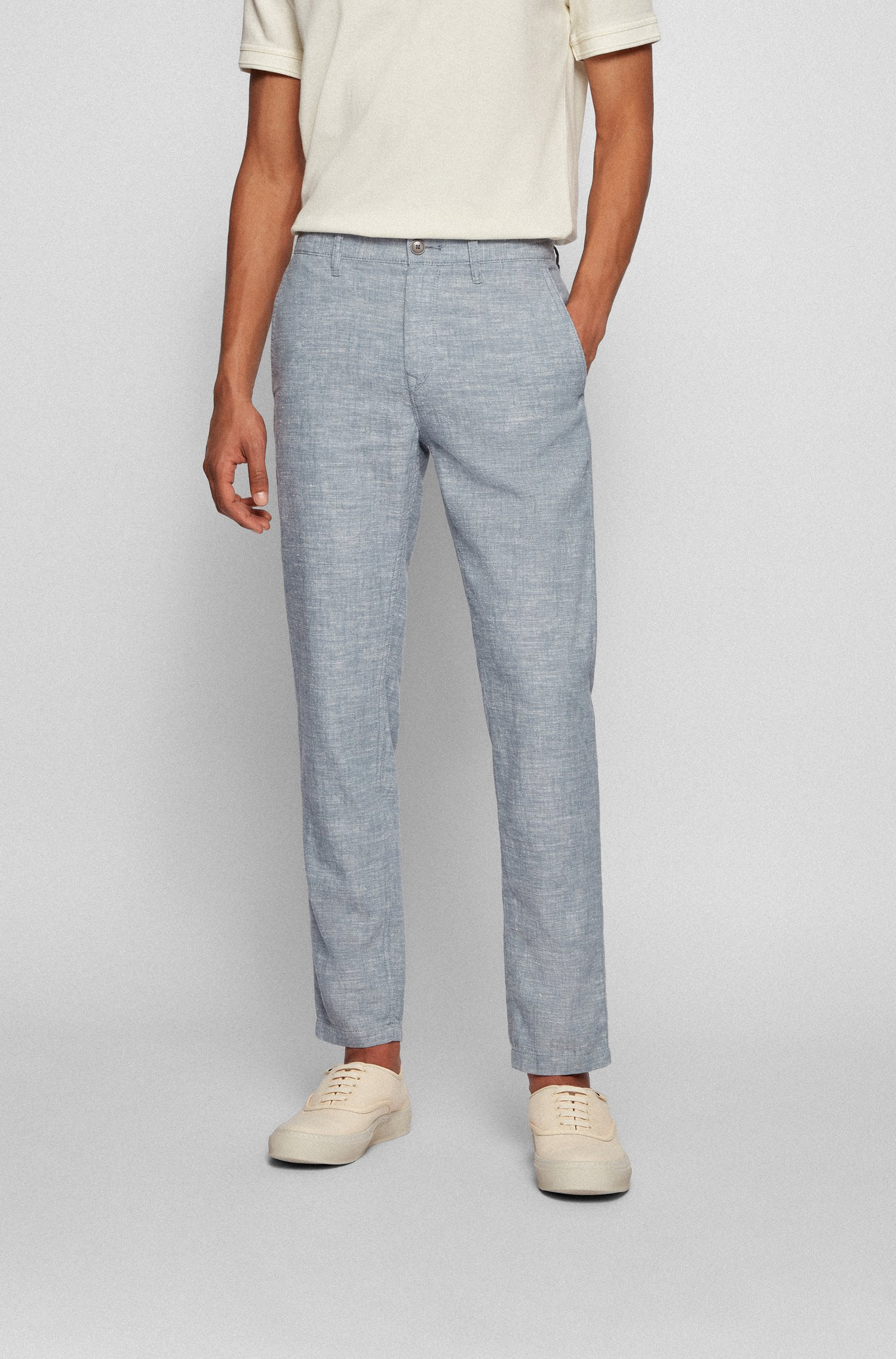 Tapered-fit trousers in hemp and organic cotton, Dark Grey