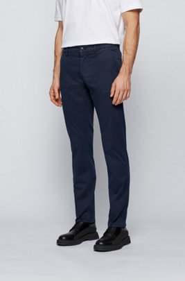 Slim-fit trousers in stretch-cotton twill, Dark Blue
