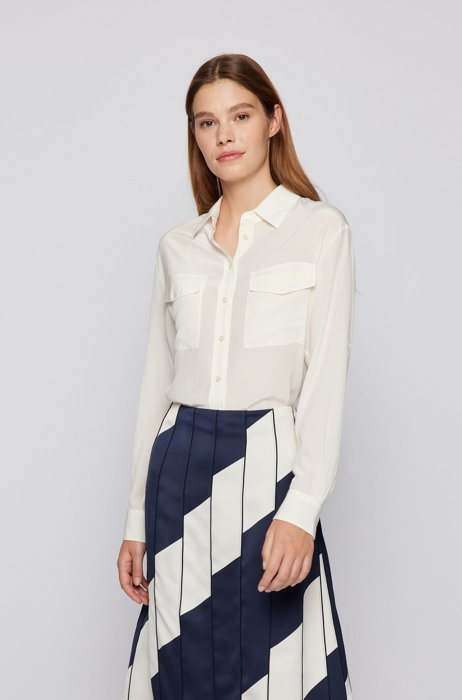 Long-sleeved blouse in sand-washed silk, White