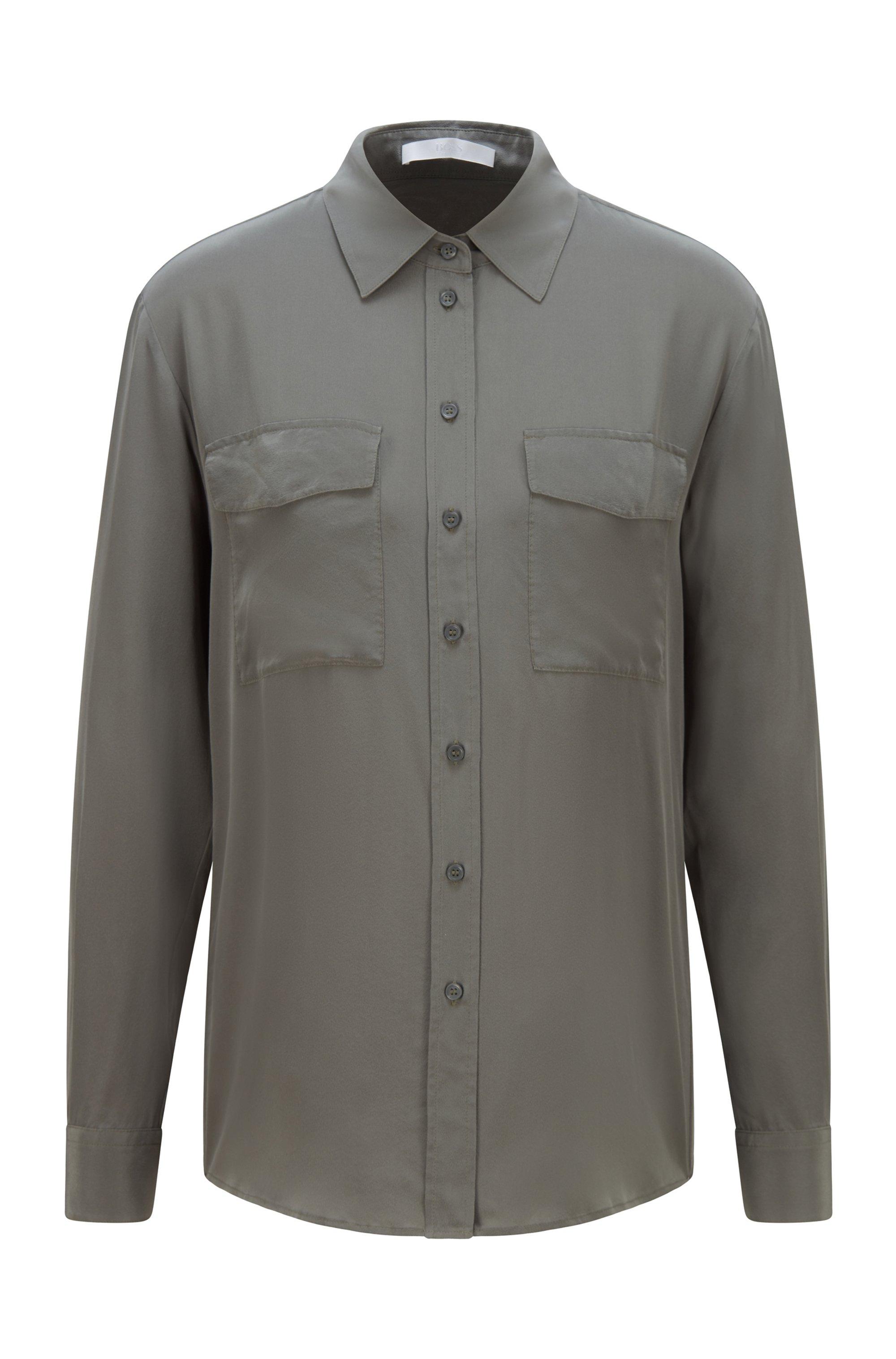 Regular-fit blouse van zuivere sand-washed zijde, Donkergroen