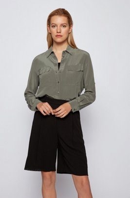Long-sleeved blouse in sand-washed silk, Dark Green