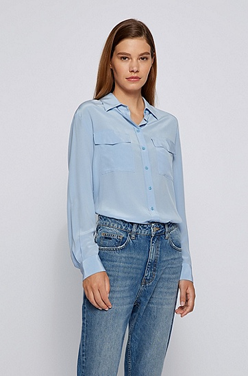纯砂洗真丝面料常规版型女士衬衫,  450_Light/Pastel Blue