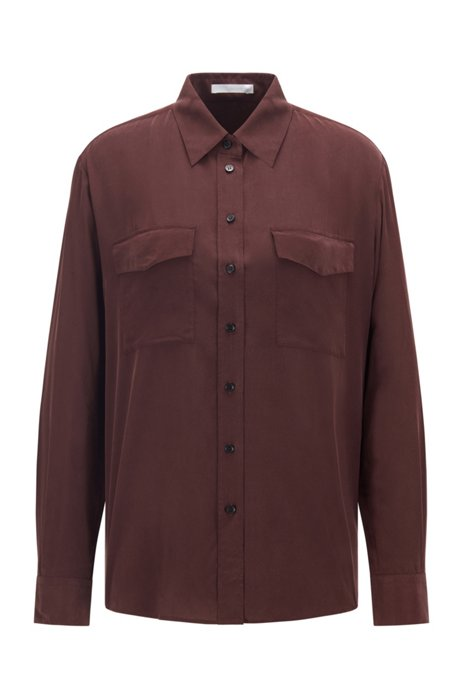 Long-sleeved blouse in sand-washed silk, Dark Red
