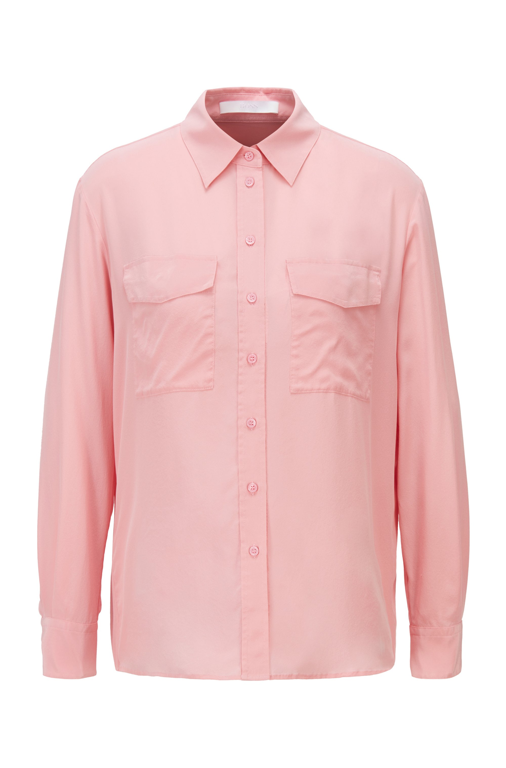 Long-sleeved blouse in sand-washed silk, Pink
