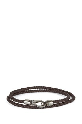 Double-wrap braided leather cuff with lobster clasp, Dark Brown