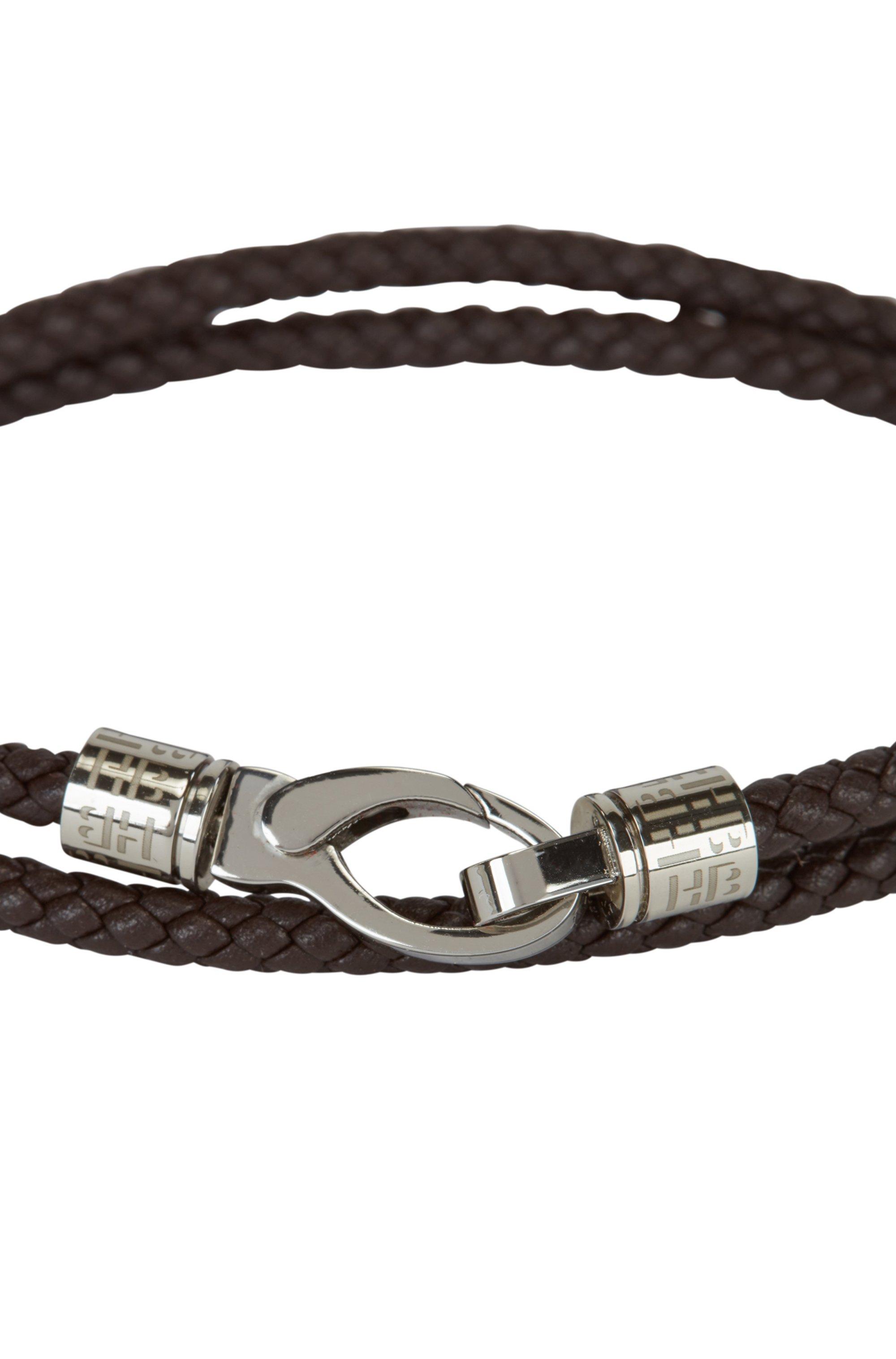 Wikkelarmband van gevlochten leer met musketonsluiting