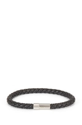 Braided-leather cuff with finely etched magnetic closure, Black