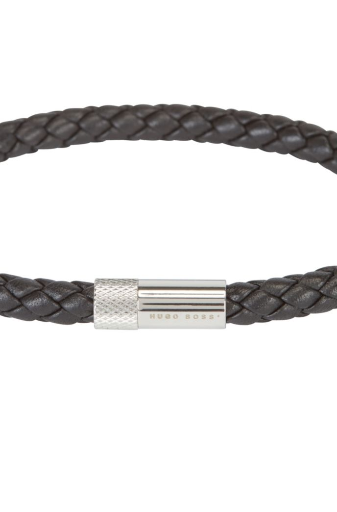 Braided-leather cuff with finely etched magnetic closure