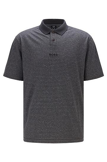 棉麻休闲条纹 Polo 衫,  002_Black