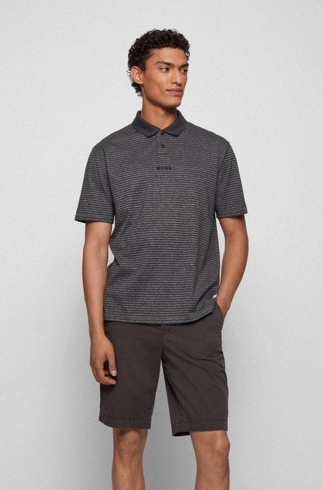 Relaxed-fit striped polo shirt in cotton and hemp, Black Patterned